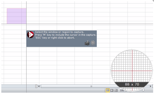 画面キャプチャのサイズをリアルタイム表示