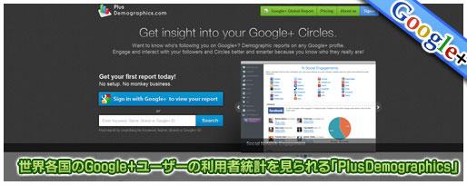 世界各国のGoogle+ユーザーの利用者統計
