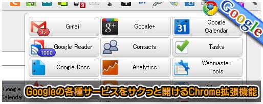 Googleの各種サービスをサクっと開けるChrome拡張機能