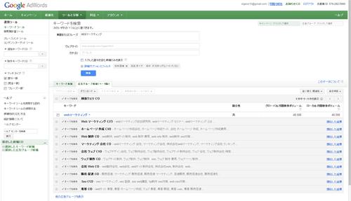 Googleアドワーズ、キーワードツール