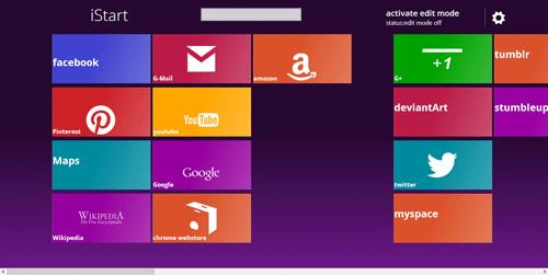 Windows 8調の新しいタブ画面